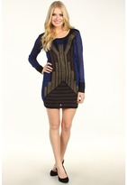 French Connection Deco Twinkle Knit Cocktail Dress (Blue/Bronze/Gold) - Apparel