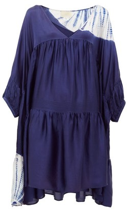 Anaak - Airi Step-hem Tie-dye Silk Dress - Womens - Navy Print