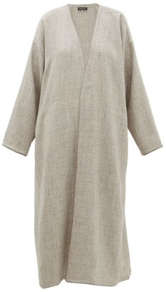 eskandar Collarless A-line Alpaca-blend Coat - Light Grey