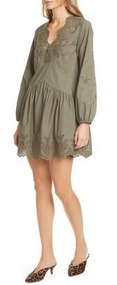 Rebecca Taylor Embroidery Detail Long Sleeve Cotton Poplin Minidress