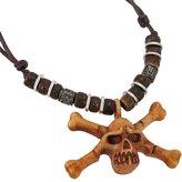 Zeckos Wooden Skull & Crossbones Pendant W/ Cord Necklace