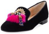 Christian Louboutin Mayamoc Fur-Detail Velvet Red Sole Loafer, Black