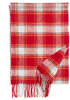 Johnstons of Elgin Bold Red Check Lambswool Scarf