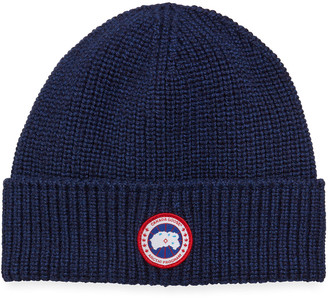 Canada Goose Men's Arctic Rib-Knit Wool Beanie Hat