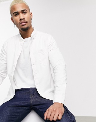 Asos DESIGN stretch slim denim shirt in white