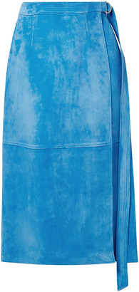 Sally LaPointe Wrap-effect Belted Suede Midi Skirt