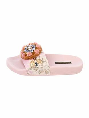 Dolce & Gabbana Rubber Floral Print Slides w/ Tags Pink