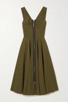 Marni Leather-trimmed Cotton-poplin Midi Dress - Army green