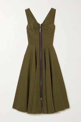 Marni Leather-trimmed Cotton-poplin Midi Dress - Army green