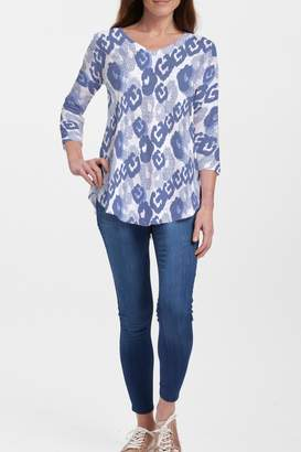 Whimsy Rose Royal Blue Ikat V-Neck Flowy Tunic