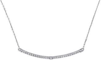 Saks Fifth Avenue 14K White Gold Diamond Horizontal Bar Pendant Necklace