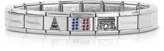 Nomination Classic Francia Stearling Silver and Stainless Steel Bracelet w/Cubic Zirconia Flag