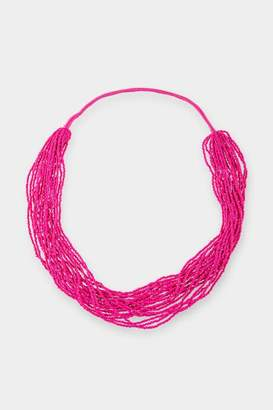 francesca's Galilea Beaded Statement Necklace - Fuchsia