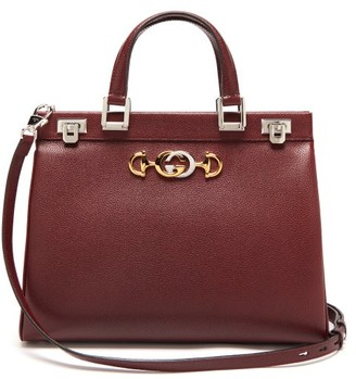Gucci Zumi Medium Top-handle Leather Bag - Womens - Burgundy