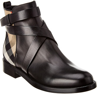 Burberry House Check Leather Bootie