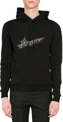 Saint Laurent Men's Star Logo Hoodie Sweatshirt w/ Kangaroo Pocket