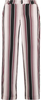 Splendid Luxe Striped Washed-silk Wide-leg Pants - Merlot