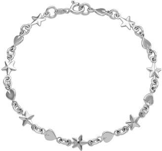 """Italian Silver Stars & Hearts 7-1/2"""" Bracelet,5.4g"""