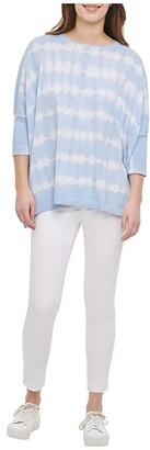 Calvin Klein Tie-Dye Dolman Poncho (Cashmere Blue) Women's Clothing