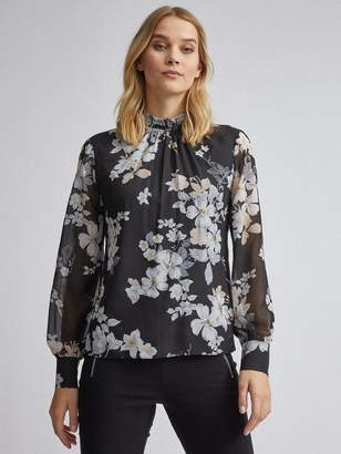 Dorothy Perkins Floral Shirred Long Sleeve Top - Black