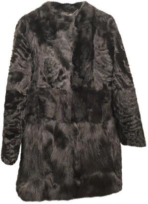 Meteo Black Mongolian Lamb Coat for Women