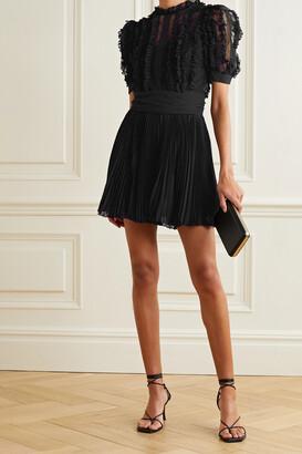 Dolce & Gabbana - Lace-trimmed Point Desprit Tulle And Plisse-chiffon Mini Dress - Black