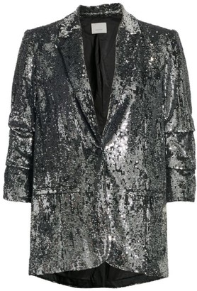 Cinq à Sept Kylie Sequin Ruched-Sleeve Blazer