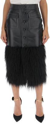 Saint Laurent Faux-Fur Trimmed Front Slit Skirt