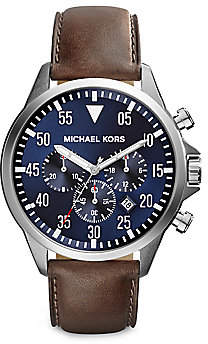 Michael Kors Women's Gage Stainless Steel and Leather Chronograph Strap Watch
