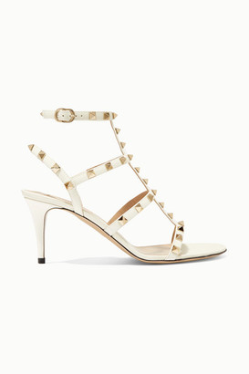 Valentino Garavani Rockstud 70 Patent-leather Sandals - Ivory