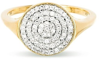 Adina Reyter Large Solid Pave Disc Signet Ring in Yellow Gold