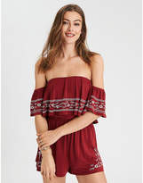 American Eagle AE Off The Shoulder Embroidered Romper