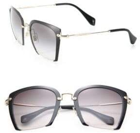 Miu Miu 52MM Semi-Rimless Acetate& Metal Square Sunglasses