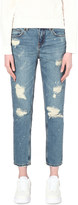 Mo&Co. Boyfriend-fit distressed cropped jeans