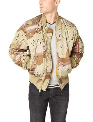 Alpha Industries Men's MA-1 Blood CHIT MID Length Zip Flight Jacket with Pockets