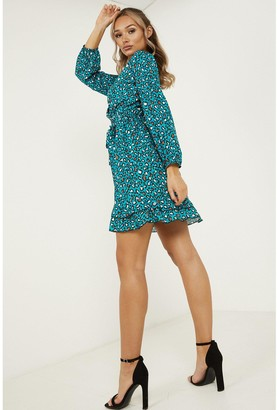 Quiz Leopard Crepe Long Sleeve Frill Dress - Teal