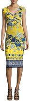 Fuzzi Sleeveless Batik Scuba Dress, Yellow/Blue