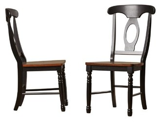 Three Posts Courtdale Solid Wood Dining Chair (Set of 2 Color: Almond/Ebony