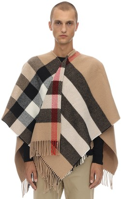 Burberry Oversize Check Wool & Cashmere Cape