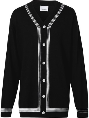 Burberry Striped Detail Oversized Cardigan