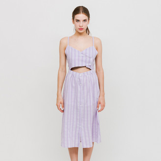 Side Party - Sway Front Tie Midi Dress - M - Purple
