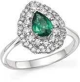 Bloomingdale's Diamond Halo and Pear Emerald Ring in 14K White Gold
