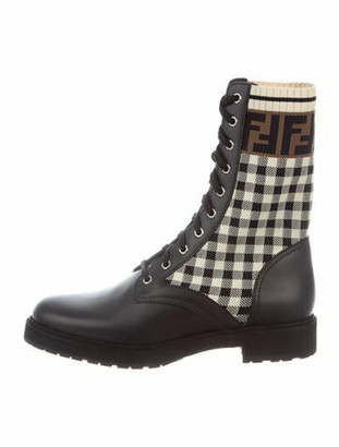 Fendi Rockoko Zucca FF Logo Combat Boots w/ Tags Black