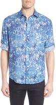 Bugatchi Men's Shaped Fit Floral Linen Sport Shirt