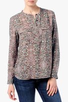 7 For All Mankind Double Pocket Henley In Mosaic Print
