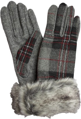 Dents Ladies Tartan Wool Mix Gloves with Faux Fur Cuff (Grey Buchanan)