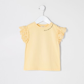 River Island Mini girls Yellow broderie sleeve T-shirt