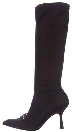 Chanel Satin Knee-High Boots