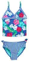 Jessica Simpson Cheetah Floral/Stripe Tankini (Little Girls)