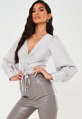 Missguided Gray Satin Ruched Tie Scoop Back Bodysuit